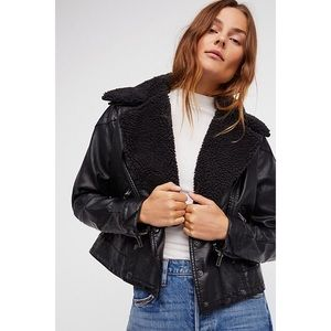 Free People Halen Vegan Leather Moto Jacket